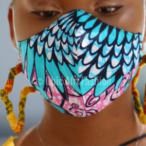 Black Woman wearing blue African PRINTS Mask