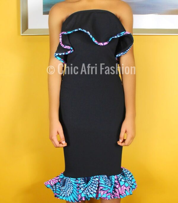 Black Ruffle Dress with Hints of African Prints