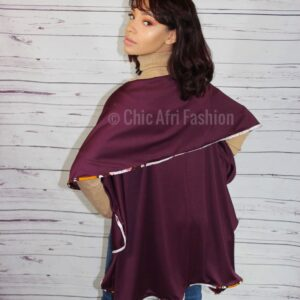Woman Wearing Plum color vest